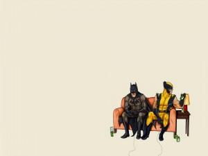 Batman jugando a la consola con su colega