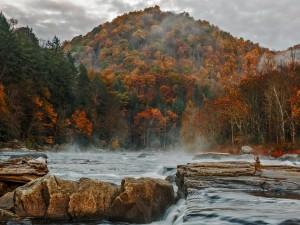 Aguas torrentosas corren entre las rocas