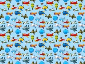 Papel tapiz con dibujos de helicópteros, aviones y globos