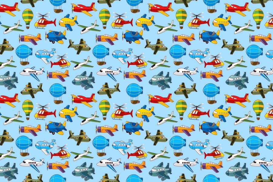 Papel tapiz con dibujos de helic pteros aviones y globos for Papel tapiz infantil