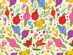 Dibujo con flores y hojas