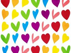 Dibujo con corazones multicolores