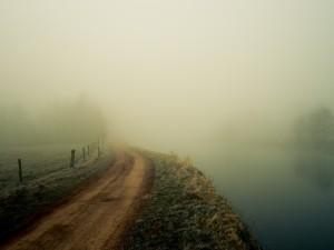Camino entre la bruma del río