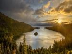 Lago rodeado de un bosque