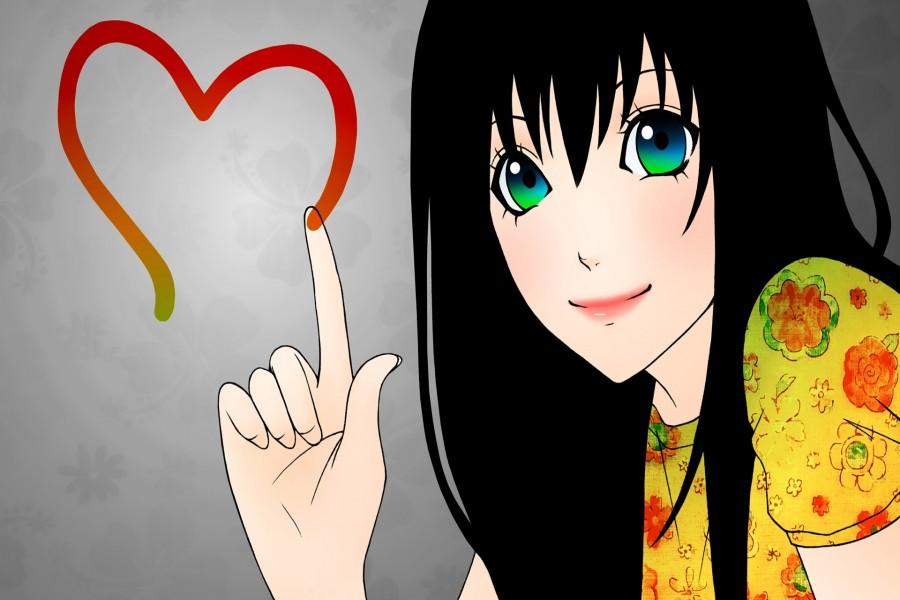 Chica anime dibujando un corazón