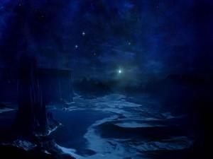 Una noche azul de intenso frío