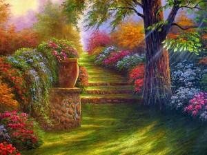 Pintura de unas bellas y coloridas flores a orillas de un camino con escaleras