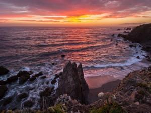 Atardecer en la costa del Pacífico (California,EE.UU.)