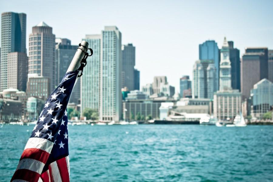 Bandera americana en Boston