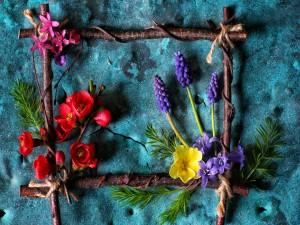 Magnífico arreglo con ramas y flores