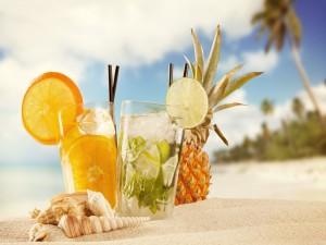 Bebidas frescas en la playa