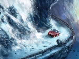 Ferrari circulando por una carretera peligrosa