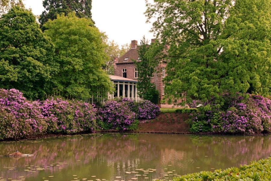 Casa con un gran jardín y estanque