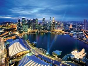 Vista de la bahía del puerto deportivo de Singapur