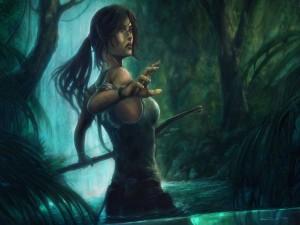 Lara Croft en el agua