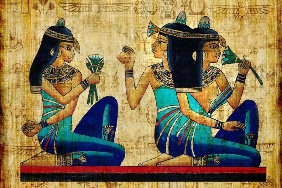 Mujeres egipcias en un papiro