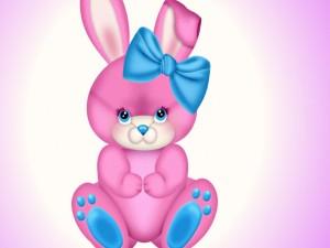 Conejito rosado con un lazo azul