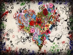 Corazón abstracto con flores