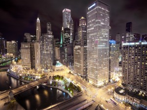 La noche en la ciudad de Chicago