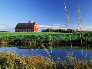 Un gran granero en el campo