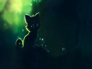 Un lindo gatito negro
