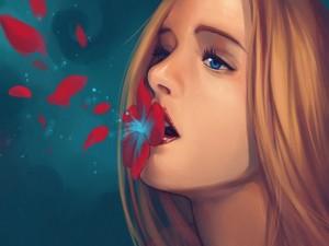 Chica con una flor en la boca