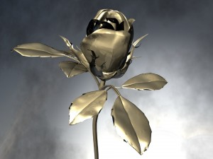 Una bella rosa de metal