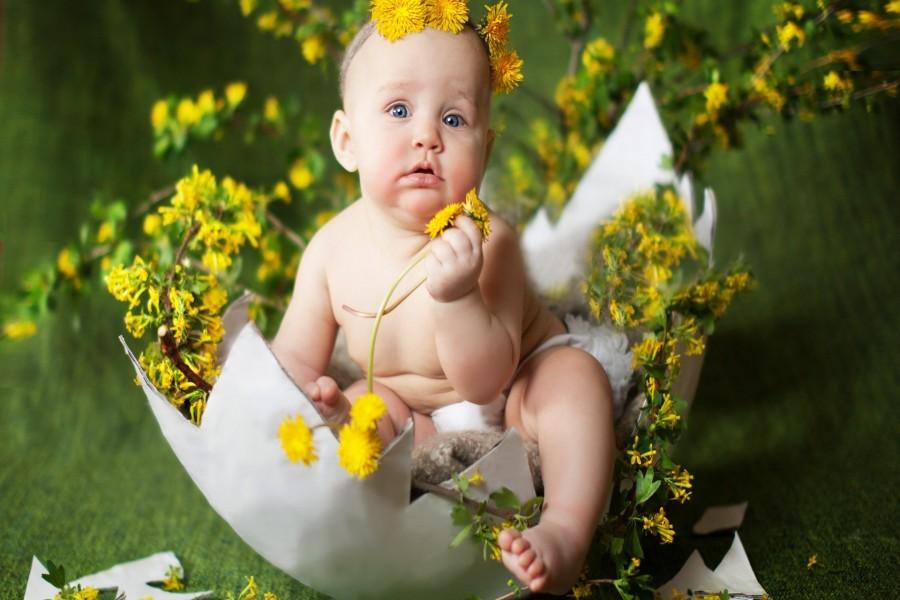 Bebé con flores amarillas dentro de una cáscara de huevo
