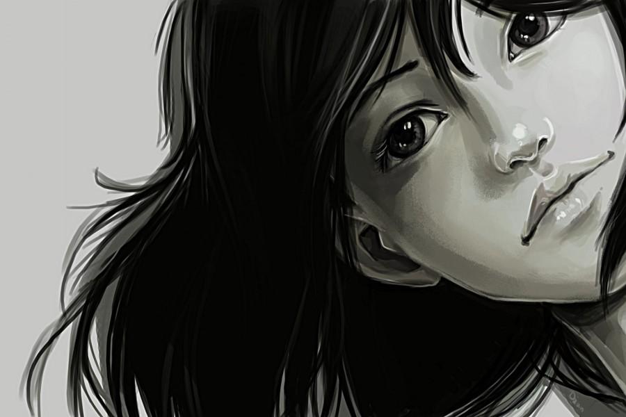 La cara de una chica en blanco y negro