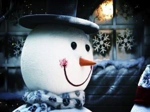 Muñeco de nieve con una gran sonrisa