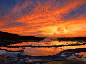 Amanece en el Parque Nacional de Yellowstone