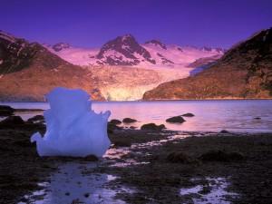 Bloque de hielo a orillas del glaciar