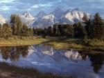Montañas Grand Teton reflejadas en el lago