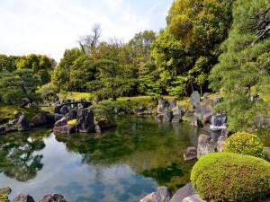 Arroyito y piedras en el Castillo Nijo (Kyoto, Japón)
