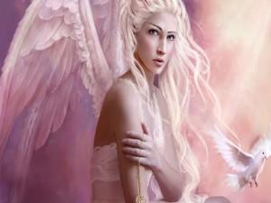 Hermoso ángel junto a una paloma blanca