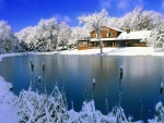 Cabaña nevada junto al lago