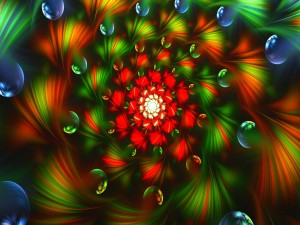 Fractal rojo y verde