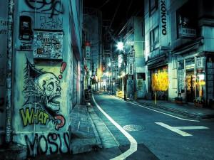 Graffiti en una calle de Tokio