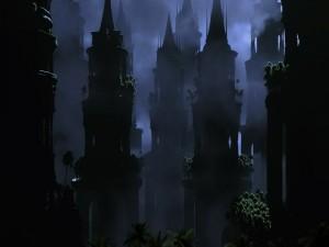 Torres del castillo en la niebla