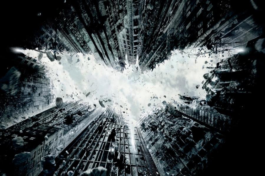Logo de Batman en los edificios de la ciudad