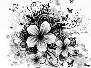 Imagen primaveral en blanco y negro
