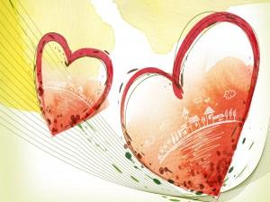 Casas dentro de los corazones rojos