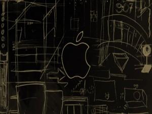 Logo de Apple en una pizarra
