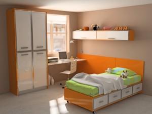 Habitación para niños en tonos naranja