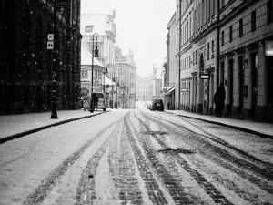 Nieva en la ciudad