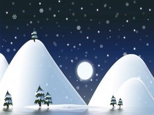 Copos de nieve caen en las montañas