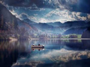 Pescando en el lago
