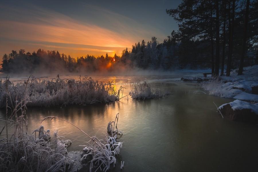 Amanecer en un día invernal