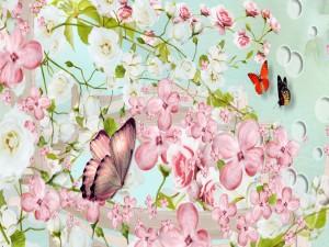 Mariposas revoloteando entre flores primaverales