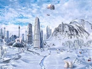 Ciudad helada en un futuro